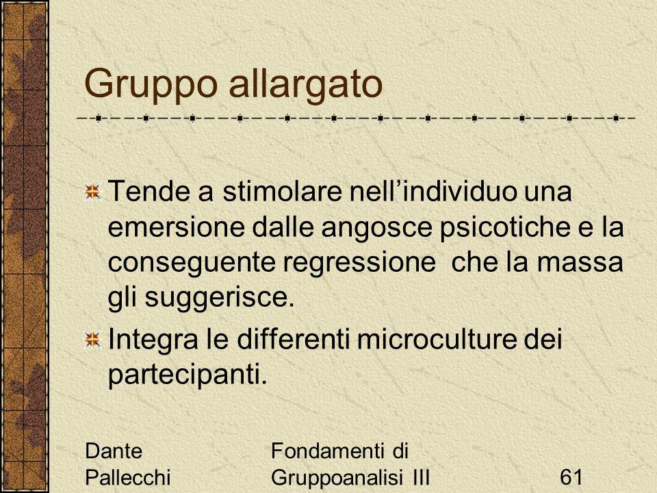 Dante Pallecchi Fondamenti di Gruppoanalisi III61 Gruppo allargato Tende a stimolare nellindividuo una emersione dalle angosce psicotiche e la consegu
