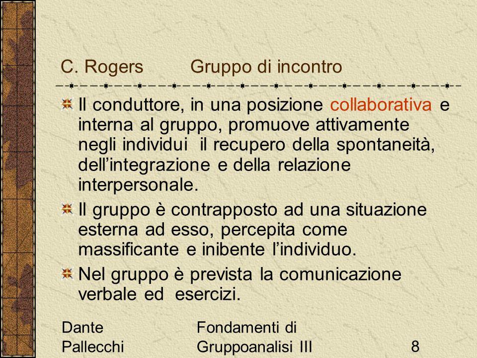 Dante Pallecchi Fondamenti di Gruppoanalisi III8 C. Rogers Gruppo di incontro Il conduttore, in una posizione collaborativa e interna al gruppo, promu