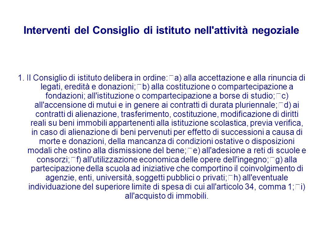 Interventi del Consiglio di istituto nell'attività negoziale 1. Il Consiglio di istituto delibera in ordine: a) alla accettazione e alla rinuncia di l