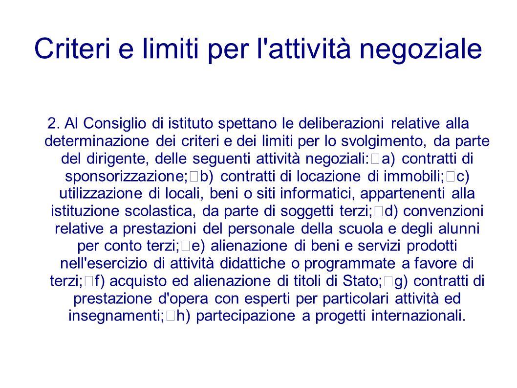 Criteri e limiti per l'attività negoziale 2. Al Consiglio di istituto spettano le deliberazioni relative alla determinazione dei criteri e dei limiti