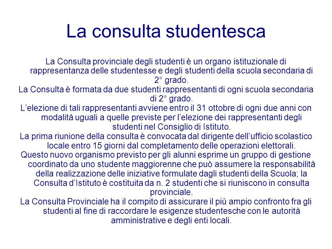 La consulta studentesca La Consulta provinciale degli studenti è un organo istituzionale di rappresentanza delle studentesse e degli studenti della sc