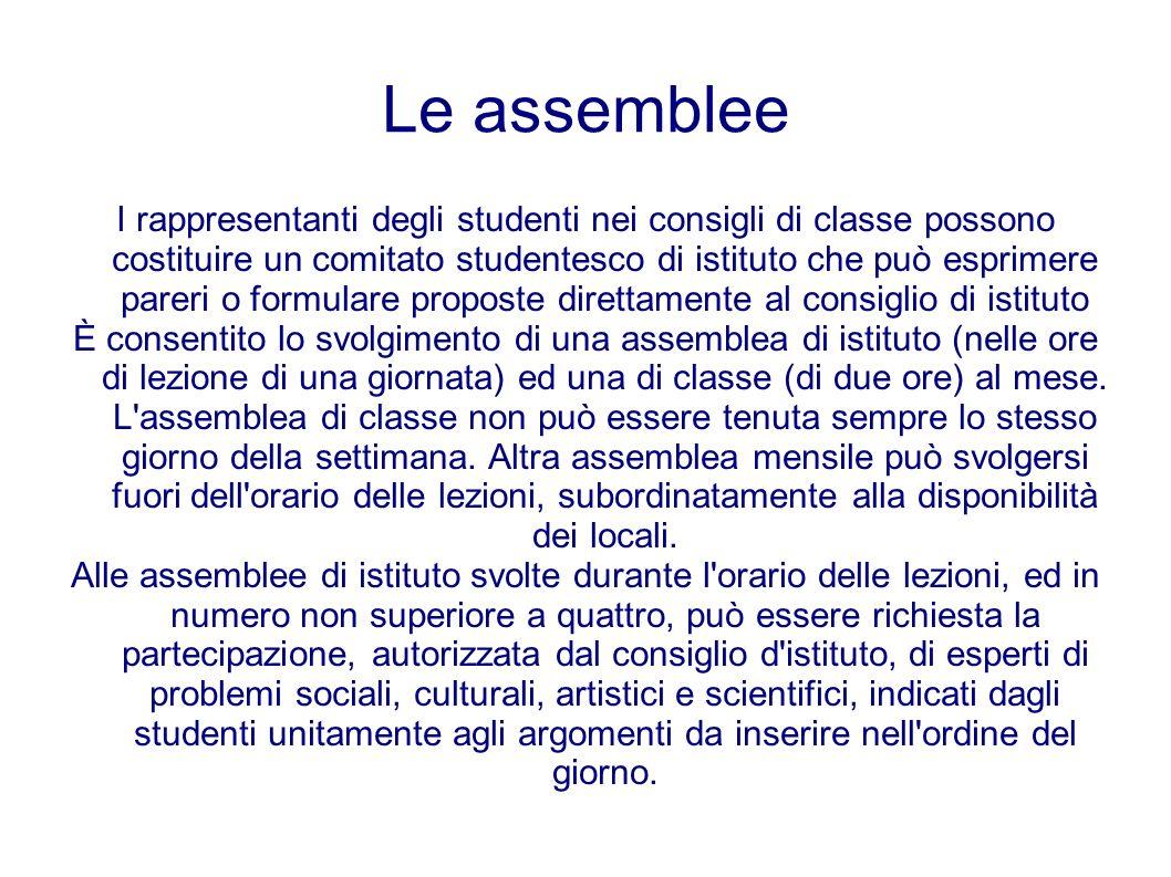 Le assemblee I rappresentanti degli studenti nei consigli di classe possono costituire un comitato studentesco di istituto che può esprimere pareri o