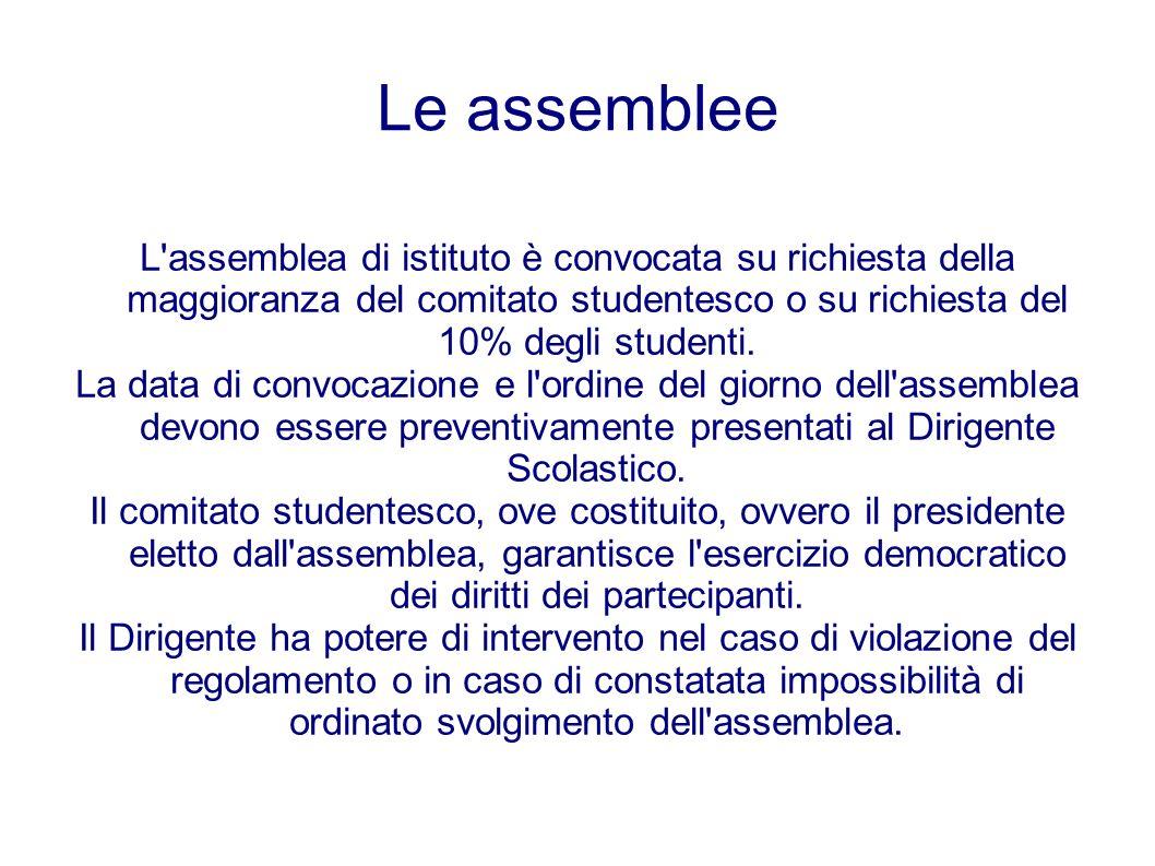 Le assemblee L'assemblea di istituto è convocata su richiesta della maggioranza del comitato studentesco o su richiesta del 10% degli studenti. La dat