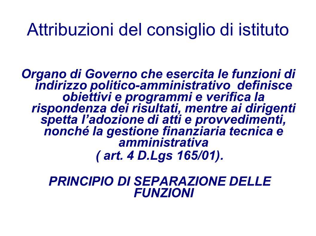 Attribuzioni del consiglio di istituto Organo di Governo che esercita le funzioni di indirizzo politico-amministrativo definisce obiettivi e programmi
