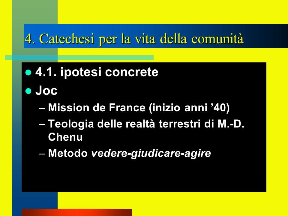4. Catechesi per la vita della comunità 4.1. ipotesi concrete Joc –Mission de France (inizio anni 40) –Teologia delle realtà terrestri di M.-D. Chenu