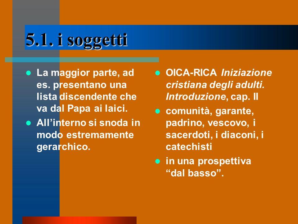 5.1. i soggetti La maggior parte, ad es. presentano una lista discendente che va dal Papa ai laici. Allinterno si snoda in modo estremamente gerarchic