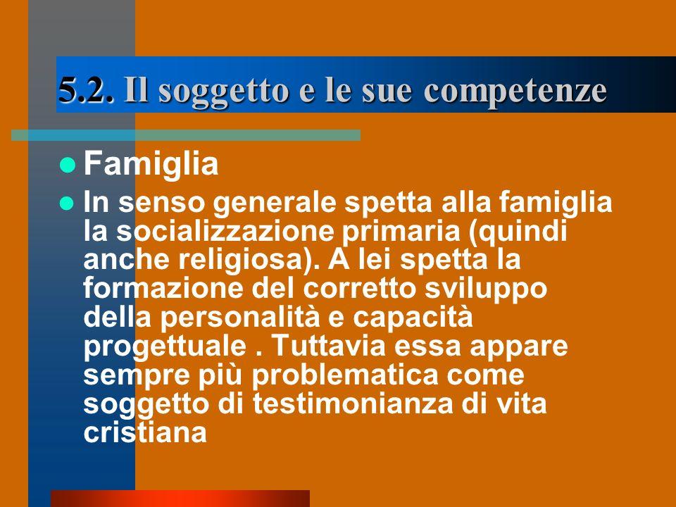 5.2. Il soggetto e le sue competenze Famiglia In senso generale spetta alla famiglia la socializzazione primaria (quindi anche religiosa). A lei spett