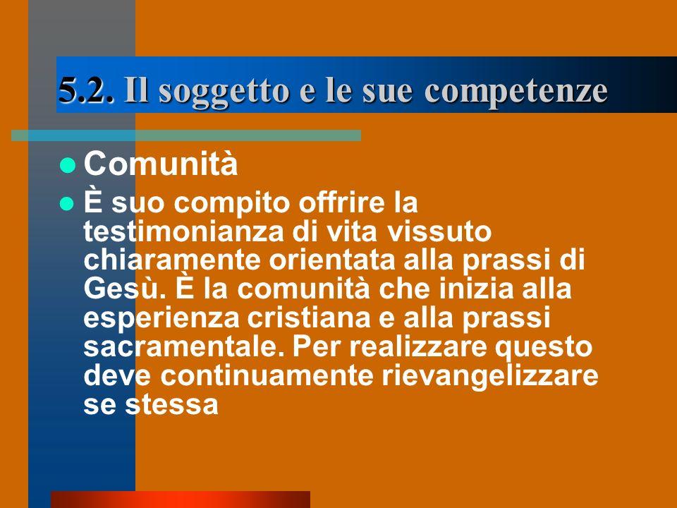 5.2. Il soggetto e le sue competenze Comunità È suo compito offrire la testimonianza di vita vissuto chiaramente orientata alla prassi di Gesù. È la c