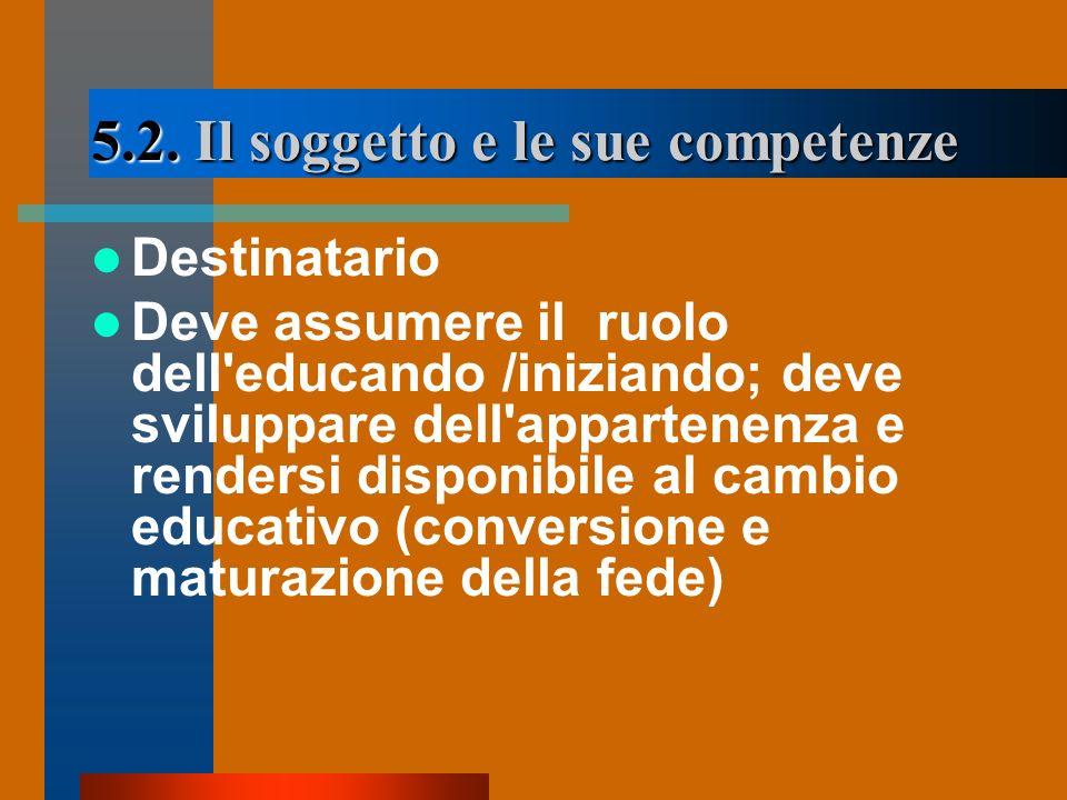 5.2. Il soggetto e le sue competenze Destinatario Deve assumere il ruolo dell'educando /iniziando; deve sviluppare dell'appartenenza e rendersi dispon