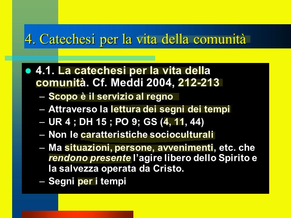 4. Catechesi per la vita della comunità 4.1. La catechesi per la vita della comunità. Cf. Meddi 2004, 212-213 –Scopo è il servizio al regno –Attravers