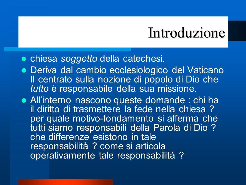Introduzione E di aiuto in questo contesto il dettato conciliare (LG 12) che definisce il rapporto tra i Munera Christi e il popolo di Dio.