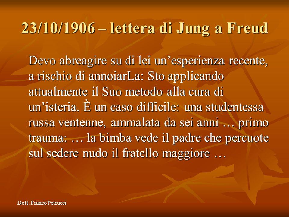 Dott. Franco Petrucci 23/10/1906 – lettera di Jung a Freud Devo abreagire su di lei unesperienza recente, a rischio di annoiarLa: Sto applicando attua