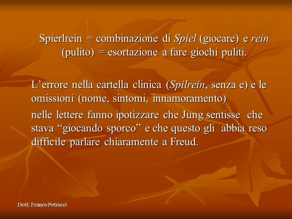 Dott. Franco Petrucci Spierlrein = combinazione di Spiel (giocare) e rein (pulito) = esortazione a fare giochi puliti. Lerrore nella cartella clinica