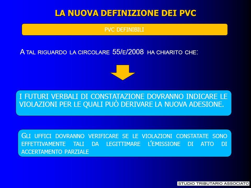 LA NUOVA DEFINIZIONE DEI PVC PVC DEFINIBILI A TAL RIGUARDO LA CIRCOLARE 55/ E /2008 HA CHIARITO CHE : I FUTURI VERBALI DI CONSTATAZIONE DOVRANNO INDIC