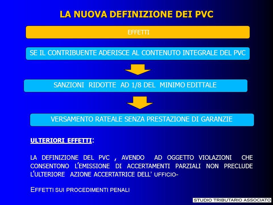 LA NUOVA DEFINIZIONE DEI PVC EFFETTI SE IL CONTRIBUENTE ADERISCE AL CONTENUTO INTEGRALE DEL PVC SANZIONI RIDOTTE AD 1/8 DEL MINIMO EDITTALE VERSAMENTO