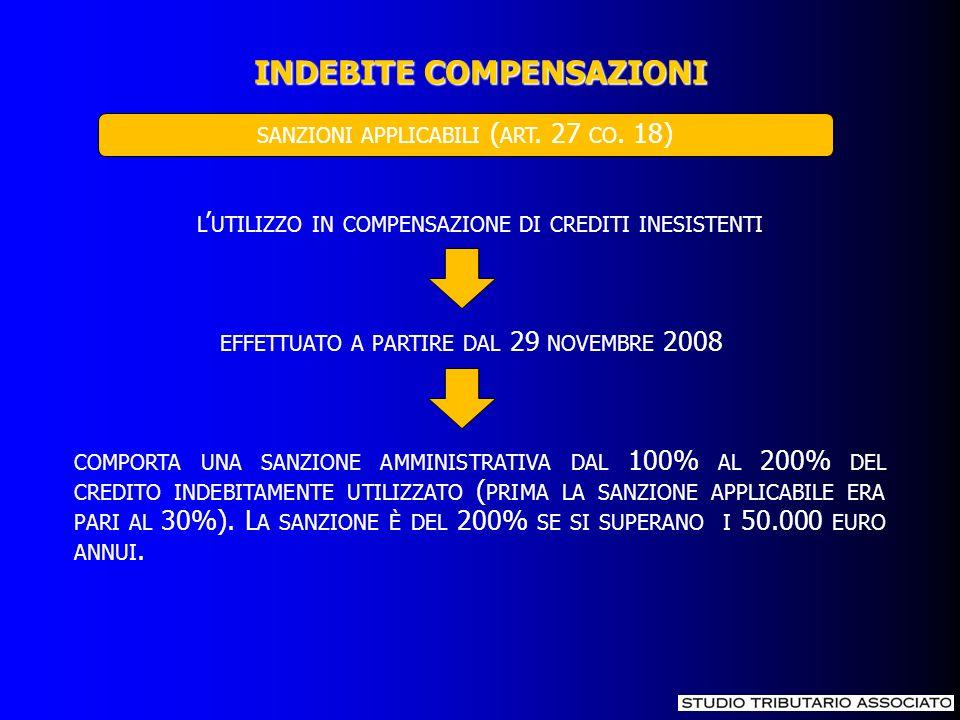 L UTILIZZO IN COMPENSAZIONE DI CREDITI INESISTENTI EFFETTUATO A PARTIRE DAL 29 NOVEMBRE 2008 COMPORTA UNA SANZIONE AMMINISTRATIVA DAL 100% AL 200% DEL