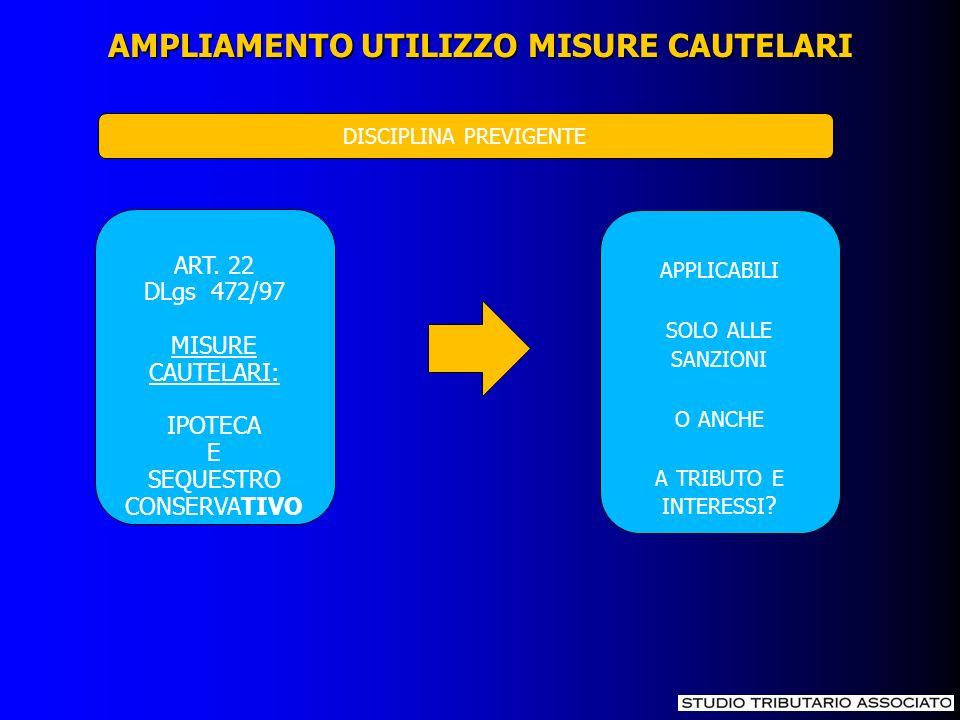 AMPLIAMENTO UTILIZZO MISURE CAUTELARI ART. 22 DLgs 472/97 MISURE CAUTELARI: IPOTECA E SEQUESTRO CONSERVATIVO APPLICABILI SOLO ALLE SANZIONI O ANCHE A