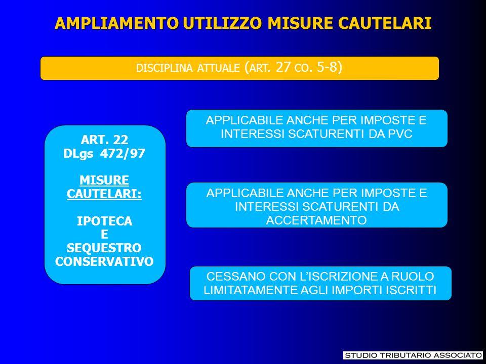 AMPLIAMENTO UTILIZZO MISURE CAUTELARI ART. 22 DLgs 472/97 MISURE CAUTELARI: IPOTECA E SEQUESTRO CONSERVATIVO APPLICABILE ANCHE PER IMPOSTE E INTERESSI