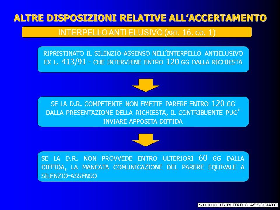 ALTRE DISPOSIZIONI RELATIVE ALLACCERTAMENTO RIPRISTINATO IL SILENZIO - ASSENSO NELL INTERPELLO ANTIELUSIVO EX L. 413/91 - CHE INTERVIENE ENTRO 120 GG