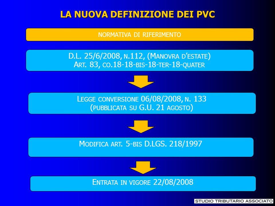 LA NUOVA DEFINIZIONE DEI PVC D.L. 25/6/2008, N.112, (M ANOVRA D ESTATE ) A RT. 83, CO.18-18- BIS -18- TER -18- QUATER L EGGE CONVERSIONE 06/08/2008, N
