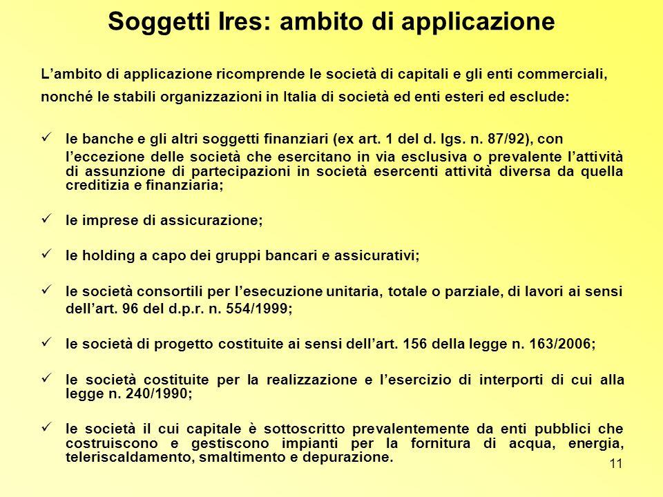 11 Soggetti Ires: ambito di applicazione Lambito di applicazione ricomprende le società di capitali e gli enti commerciali, nonché le stabili organizz