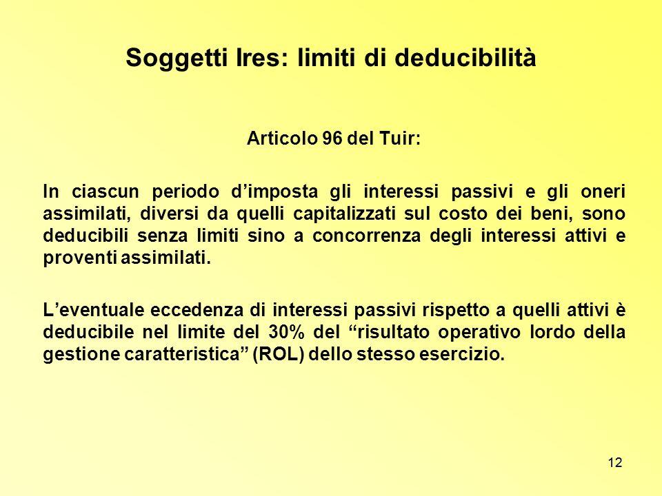 12 Soggetti Ires: limiti di deducibilità Articolo 96 del Tuir: In ciascun periodo dimposta gli interessi passivi e gli oneri assimilati, diversi da qu