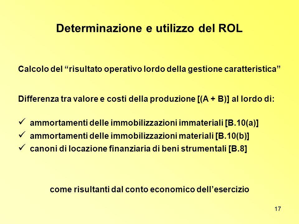 17 Determinazione e utilizzo del ROL Calcolo del risultato operativo lordo della gestione caratteristica Differenza tra valore e costi della produzion
