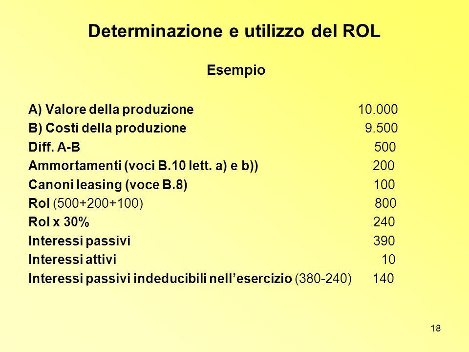 18 Determinazione e utilizzo del ROL A) Valore della produzione 10.000 B) Costi della produzione 9.500 Diff. A-B 500 Ammortamenti (voci B.10 lett. a)