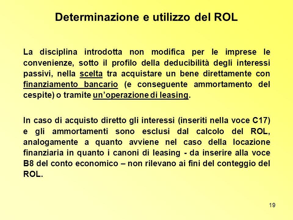 19 Determinazione e utilizzo del ROL La disciplina introdotta non modifica per le imprese le convenienze, sotto il profilo della deducibilità degli in