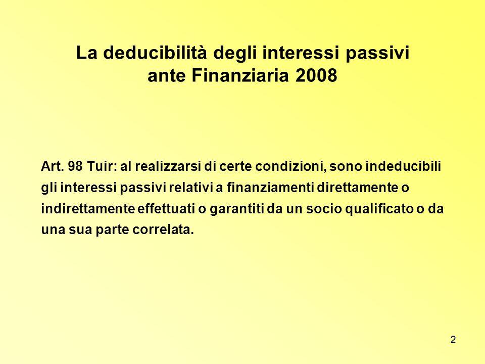 2 La deducibilità degli interessi passivi ante Finanziaria 2008 Art. 98 Tuir: al realizzarsi di certe condizioni, sono indeducibili gli interessi pass