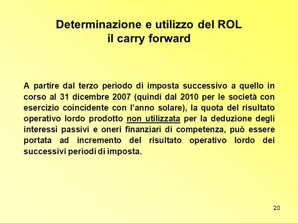 20 Determinazione e utilizzo del ROL il carry forward A partire dal terzo periodo di imposta successivo a quello in corso al 31 dicembre 2007 (quindi