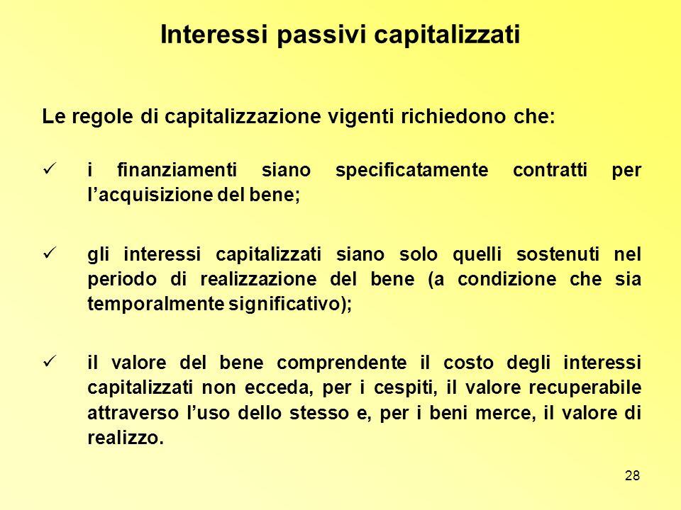 28 Interessi passivi capitalizzati Le regole di capitalizzazione vigenti richiedono che: i finanziamenti siano specificatamente contratti per lacquisi