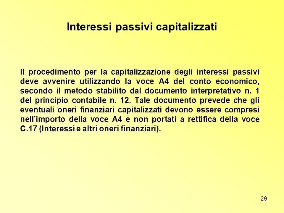 29 Interessi passivi capitalizzati Il procedimento per la capitalizzazione degli interessi passivi deve avvenire utilizzando la voce A4 del conto econ