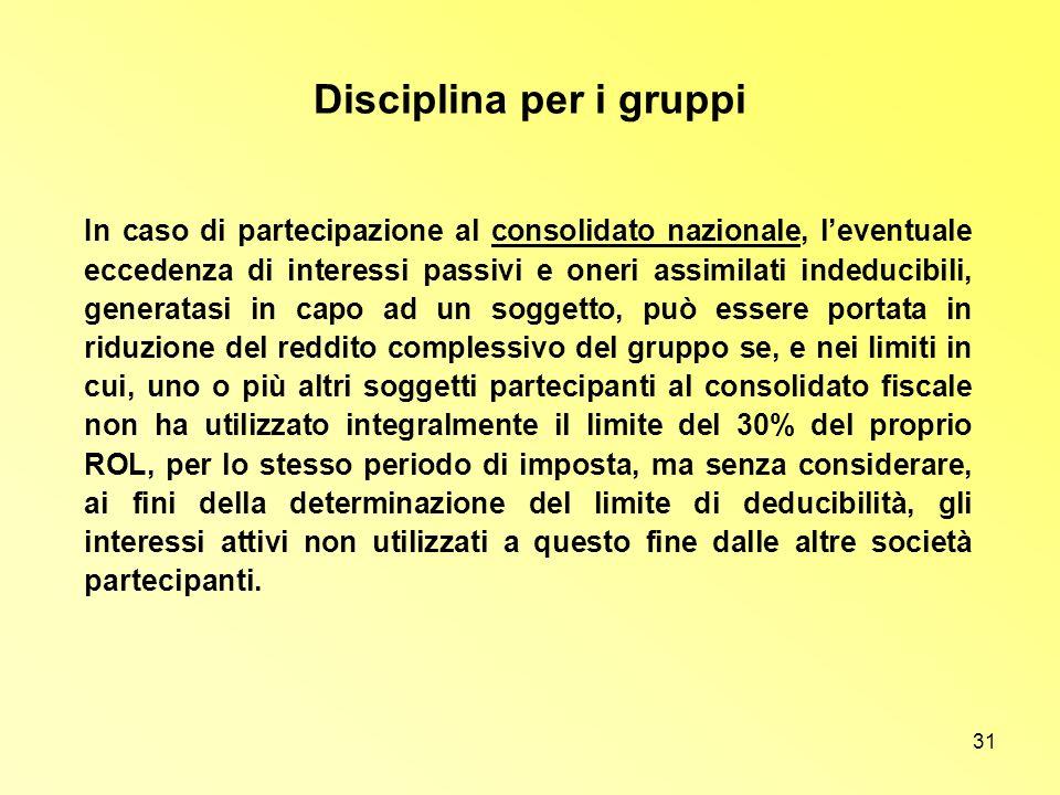 31 Disciplina per i gruppi In caso di partecipazione al consolidato nazionale, leventuale eccedenza di interessi passivi e oneri assimilati indeducibi