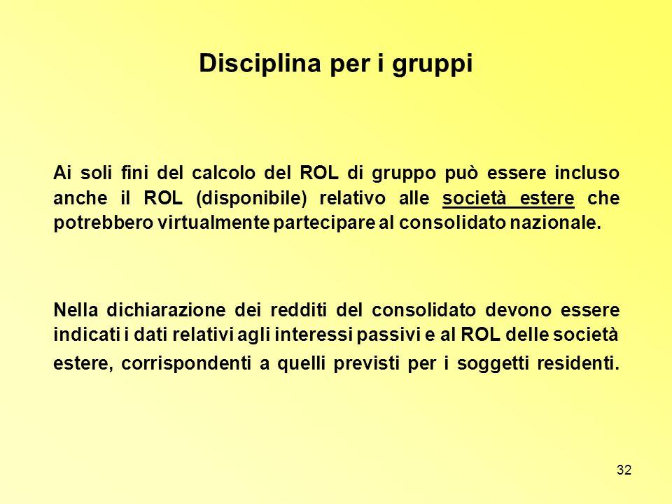 32 Disciplina per i gruppi Ai soli fini del calcolo del ROL di gruppo può essere incluso anche il ROL (disponibile) relativo alle società estere che p