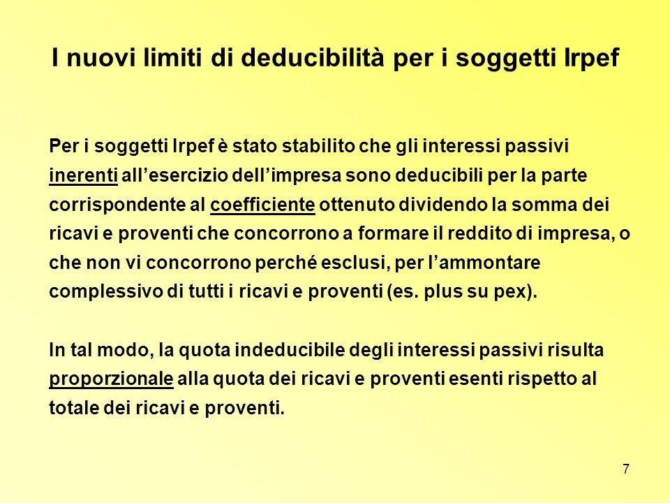 7 I nuovi limiti di deducibilità per i soggetti Irpef Per i soggetti Irpef è stato stabilito che gli interessi passivi inerenti allesercizio dellimpre