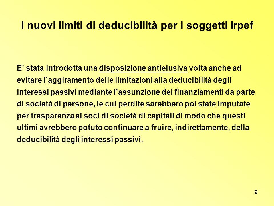 9 I nuovi limiti di deducibilità per i soggetti Irpef E stata introdotta una disposizione antielusiva volta anche ad evitare laggiramento delle limita