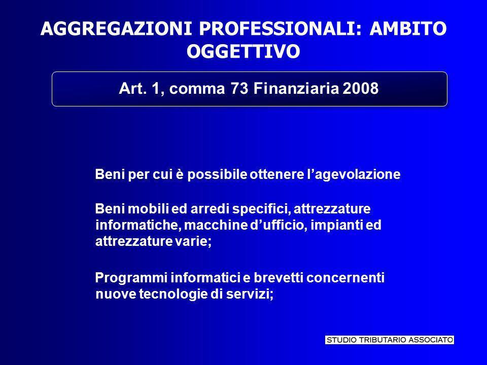 AGGREGAZIONI PROFESSIONALI: AMBITO OGGETTIVO Art.