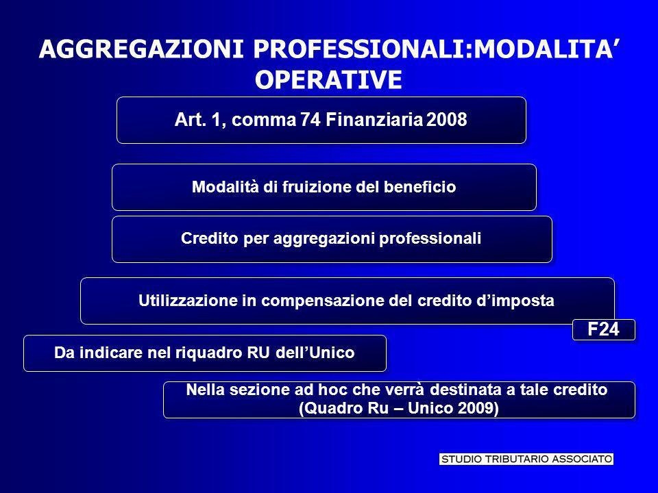 AGGREGAZIONI PROFESSIONALI:MODALITA OPERATIVE Art.