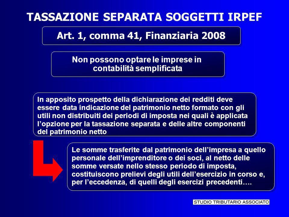 TASSAZIONE SEPARATA SOGGETTI IRPEF...
