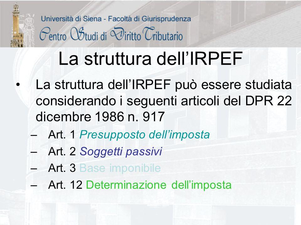 La struttura dellIRPEF La struttura dellIRPEF può essere studiata considerando i seguenti articoli del DPR 22 dicembre 1986 n. 917 –Art. 1 Presupposto