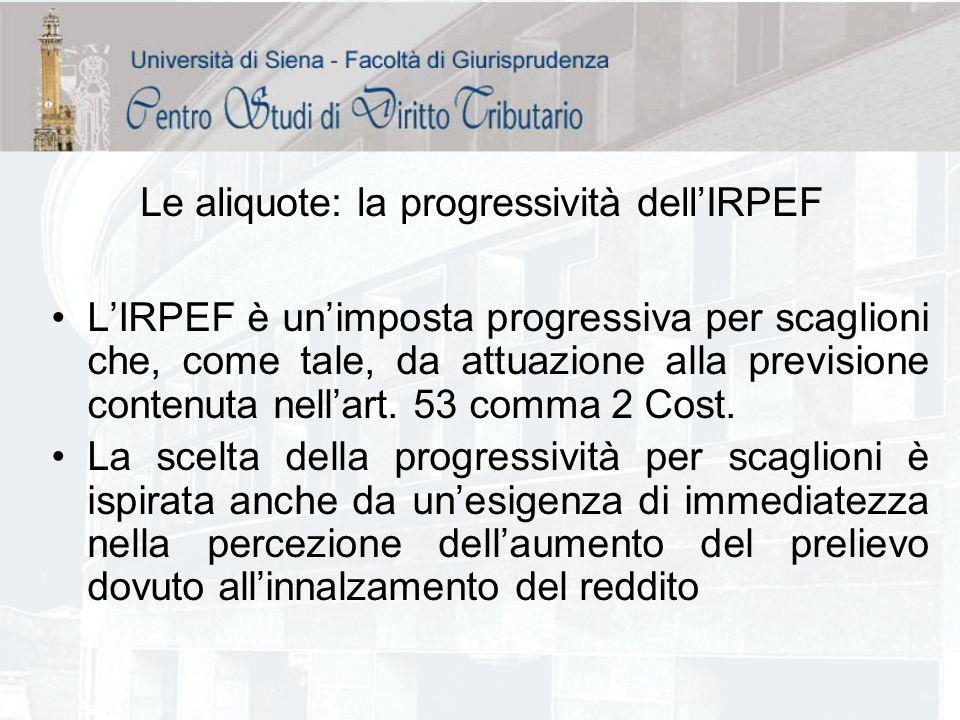 Le aliquote: la progressività dellIRPEF LIRPEF è unimposta progressiva per scaglioni che, come tale, da attuazione alla previsione contenuta nellart.