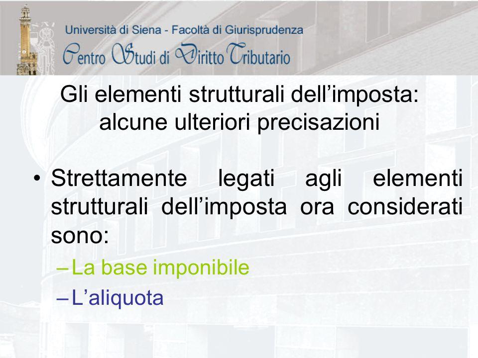 Gli elementi strutturali dellimposta: alcune ulteriori precisazioni Strettamente legati agli elementi strutturali dellimposta ora considerati sono: –L