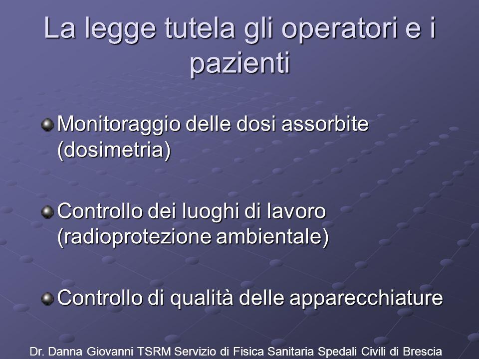 La legge tutela gli operatori e i pazienti Monitoraggio delle dosi assorbite (dosimetria) Controllo dei luoghi di lavoro (radioprotezione ambientale)