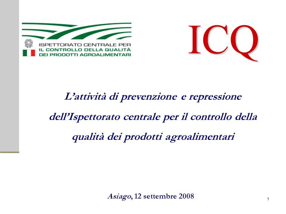 ICQ Lattività di prevenzione e repressione dellIspettorato centrale per il controllo della qualità dei prodotti agroalimentari Asiago, 12 settembre 2008 1