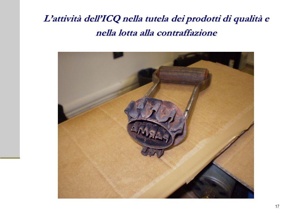 Lattività dellICQ nella tutela dei prodotti di qualità e nella lotta alla contraffazione 17