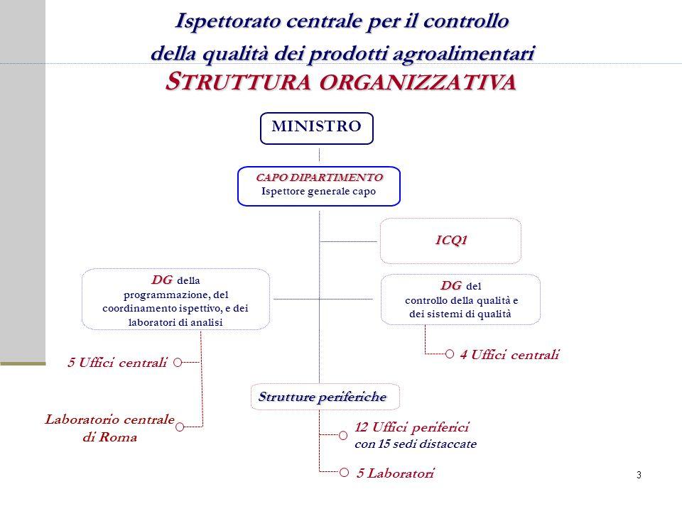 S TRUTTURA ORGANIZZATIVA ICQ1 DG DG della programmazione, del coordinamento ispettivo, e dei laboratori di analisi Laboratorio centrale di Roma CAPO D