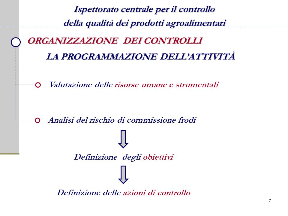 Ispettorato centrale per il controllo della qualità dei prodotti agroalimentari ORGANIZZAZIONE DEI CONTROLLI Definizione delle azioni di controllo Ana