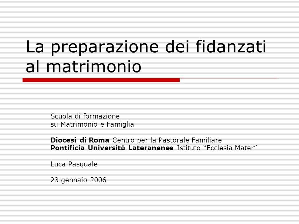 La preparazione dei fidanzati al matrimonio Scuola di formazione su Matrimonio e Famiglia Diocesi di Roma Centro per la Pastorale Familiare Pontificia