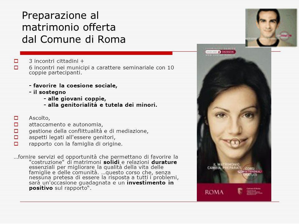 Preparazione al matrimonio offerta dal Comune di Roma 3 incontri cittadini + 6 incontri nei municipi a carattere seminariale con 10 coppie partecipant